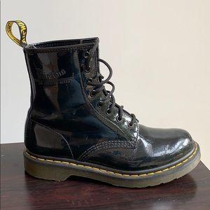 Dr. Martens women black shiny boots size 7